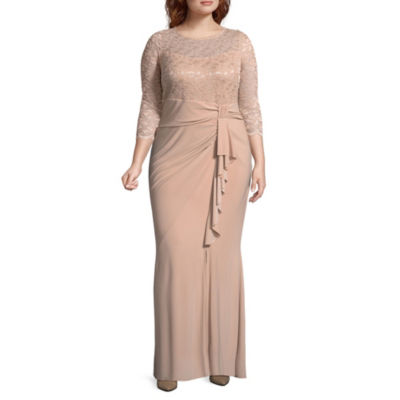 Blu Sage 3/4 Sleeve Lace Top Evening Gown - Plus