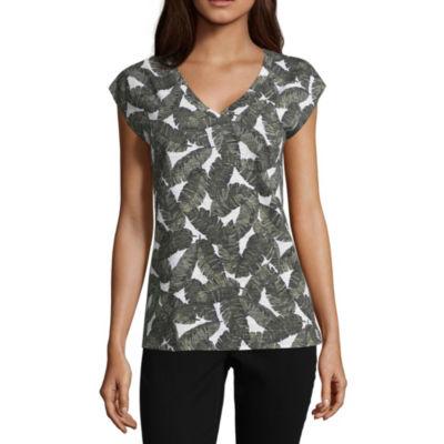 Liz Claiborne Cap Sleeve V-Neck T-Shirt