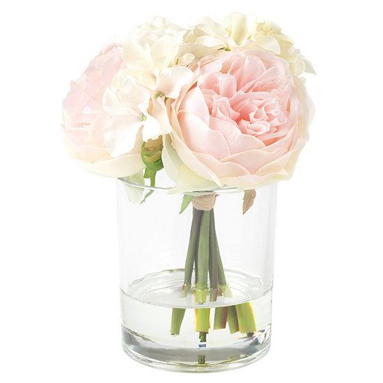 Pure Garden Hydrangea And Rose Floral Arrangement