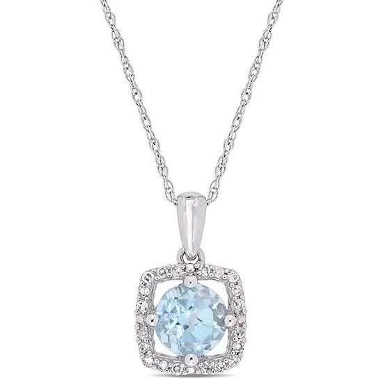 Womens 1/10 CT. T.W. Genuine Blue Topaz 10K White Gold Square Pendant Necklace