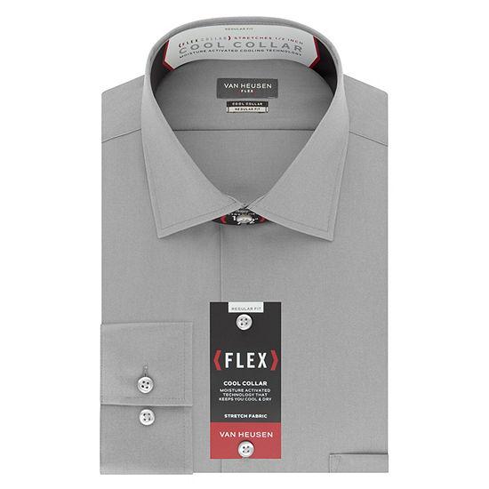 Van Heusen Cool Collar Stretch Mens Spread Collar Long Sleeve Wrinkle Free Stretch Dress Shirt
