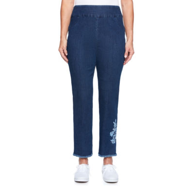 Alfred Dunner Out Of The Blue Womens High Waisted Classic Fit Ankle Pant
