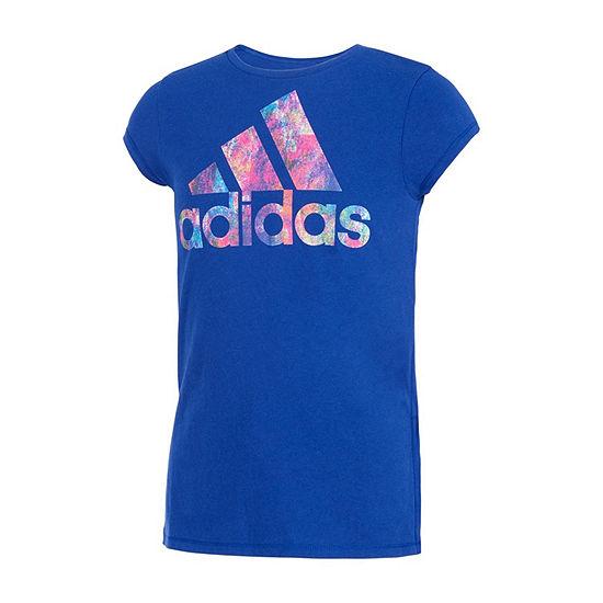adidas Girls Crew Neck Short Sleeve Graphic T-Shirt - Preschool