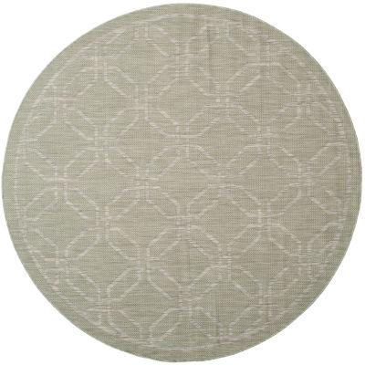 Safavieh Courtyard Collection Gertrude Geometric Indoor/Outdoor Round Area Rug