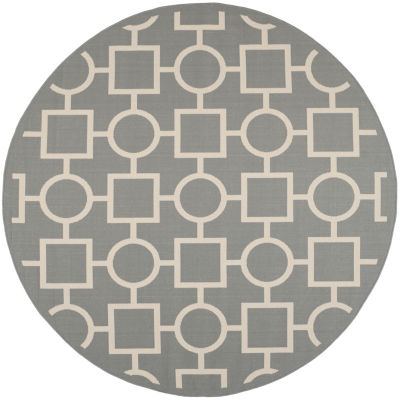 Safavieh Courtyard Collection Drew Geometric Indoor/Outdoor Round Area Rug
