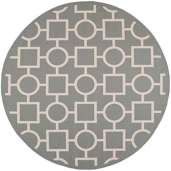 Safavieh Courtyard Collection Drew Geometric Indoor/Outdoor Round Area Rug