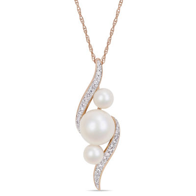 Womens 1/8 CT. T.W. White Cultured Freshwater Pearl 10K Rose Gold Pendant Necklace