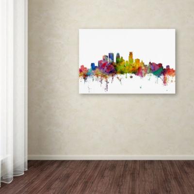 Trademark Fine Art Michael Tompsett Minneapolis Minnesota Skyline Giclee Canvas Art