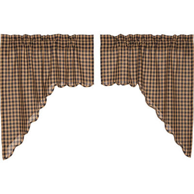 Primitive Window Navy Check Scalloped Swag Pair
