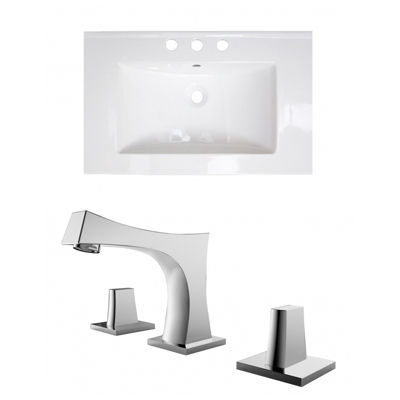25-in. W 3H8-in. Ceramic Top Set In White Color -CUPC Faucet Incl.