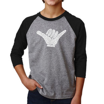 Los Angeles Pop Art Boy's Raglan Baseball Word Art T-shirt - TOP WORLDWIDE SURFING SPOTS