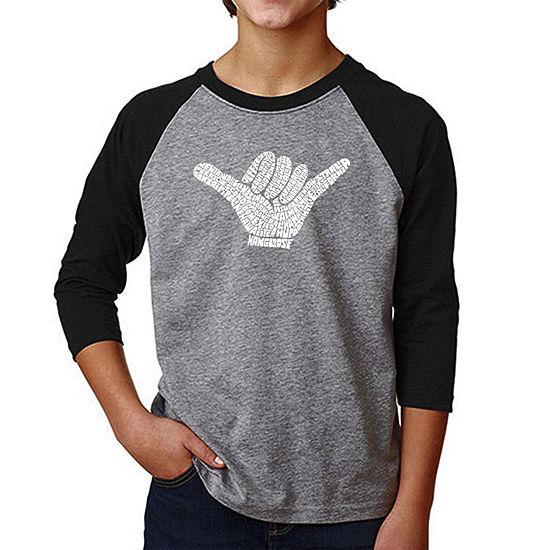 Los Angeles Pop Art Boys Raglan Baseball Word Art T Shirt Top Worldwide Surfing Spots