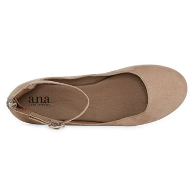 a.n.a Womens Duke Ballet Flats Buckle Round Toe Zip
