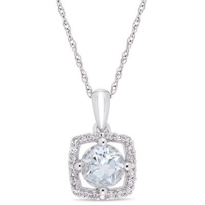 Womens 1/10 CT. T.W. Genuine Blue Aquamarine 10K White Gold Square Pendant Necklace