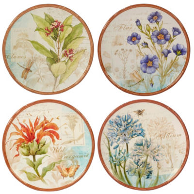 Certified International Herb Blossoms 4-pc. Dessert Plate