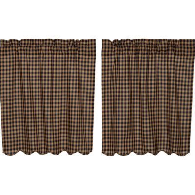 Primitive Window Navy Check Scalloped Tier Pair