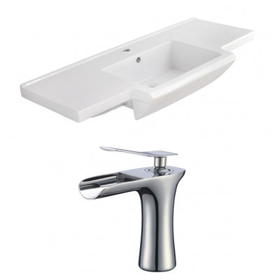 40-in. W 1 Hole Ceramic Top Set In White Color - CUPC Faucet Incl.