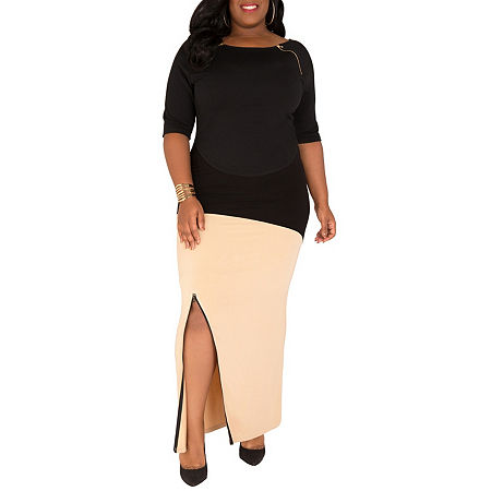 Poetic Justice Curvy French Terry Knit Maxi Skirt, 1x , Beige