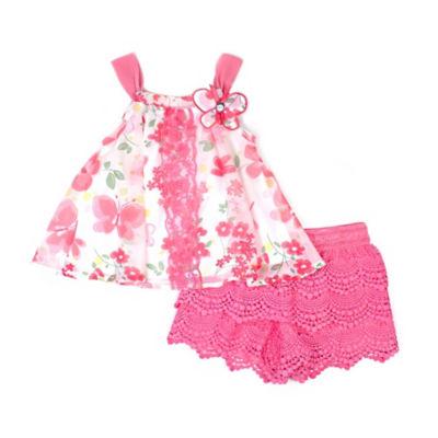 Nanette Baby Floral Chiffon Short Set - PreSchool Girls