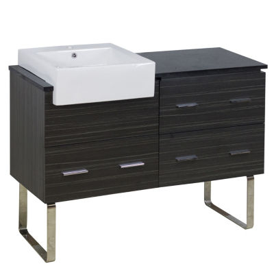46-in. W 18-in. D Modern Plywood-Melamine Vanity Base Set Only In Dawn Grey