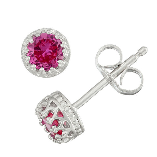 Pink Sapphire Sterling Silver 4mm Stud Earrings
