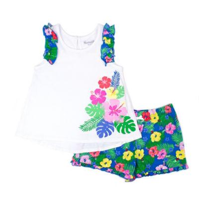 Nanette Baby White and Floral Short Set - PreSchool Girls