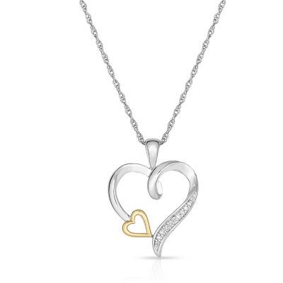 Natalia Drake White Diamond Accent Sterling Silver & 10K Gold Heart Pendant Necklace