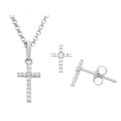 Girls White Cubic Zirconia Sterling Silver Cross 2-pc. Jewelry Set