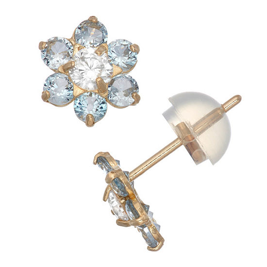 Blue Cubic Zirconia 10K Gold 7.5mm Flower Stud Earrings