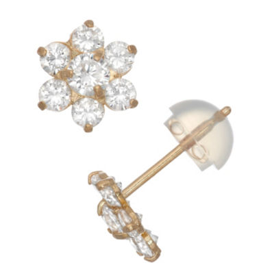 White Cubic Zirconia 10K Gold 7.5mm Flower Stud Earrings