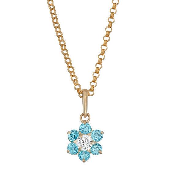 Girls Blue Cubic Zirconia 10K Gold Flower Pendant Necklace
