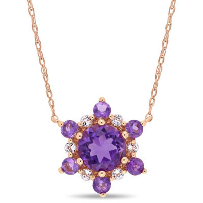 Womens Genuine Purple Amethyst 10K Rose Gold Star Pendant Necklace