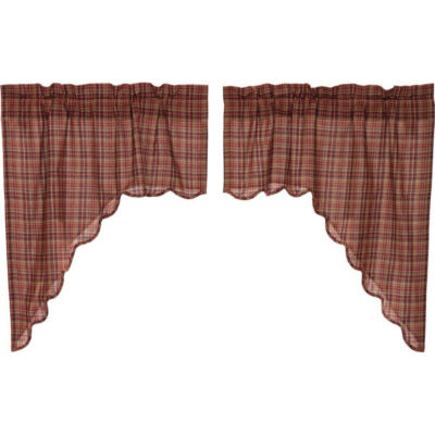 Rustic & Lodge Window Parker Scalloped Swag Pair