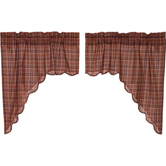 Rustic Lodge Window Parker Scalloped Swag Pair