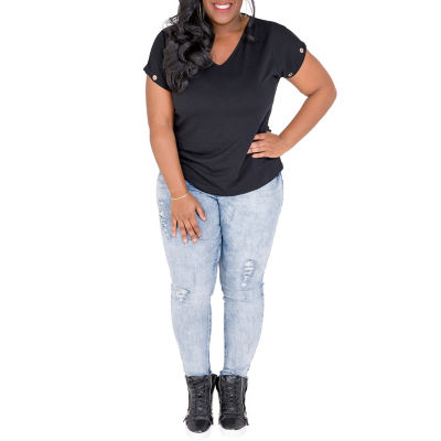 Poetic Justice French Terry Knit Grommet Trim Top - Plus