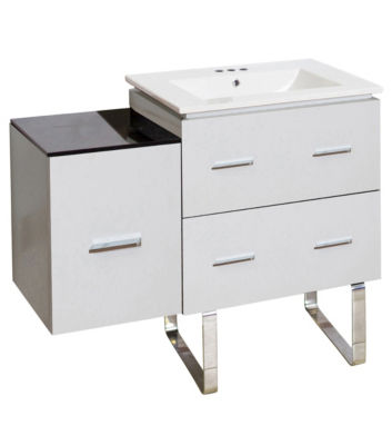 37.75-in. W Floor Mount White Vanity Set For 3H4-in. Drilling