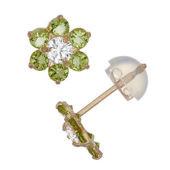 Green Cubic Zirconia 10K Gold 7.5mm Flower Stud Earrings