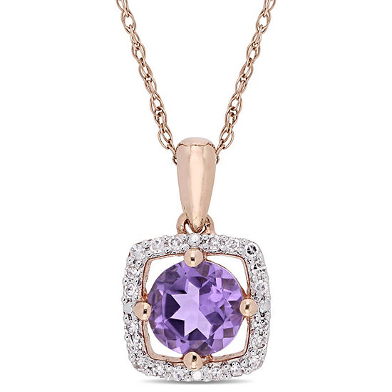 Womens 1/10 CT. T.W. Genuine Purple Amethyst 10K Rose Gold Square Pendant Necklace