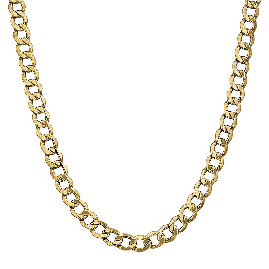14K Gold 18 Inch Semisolid Curb Chain Necklace