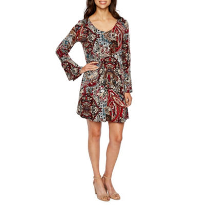 Connected Apparel Long Bell Sleeve Trapeze Dress
