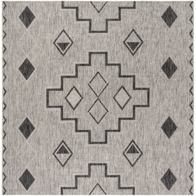 Safavieh Courtyard Collection Ambrose Geometric Indoor/Outdoor Square Area Rug