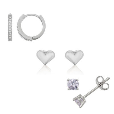 White Cubic Zirconia Sterling Silver 5mm Heart Stud Earrings