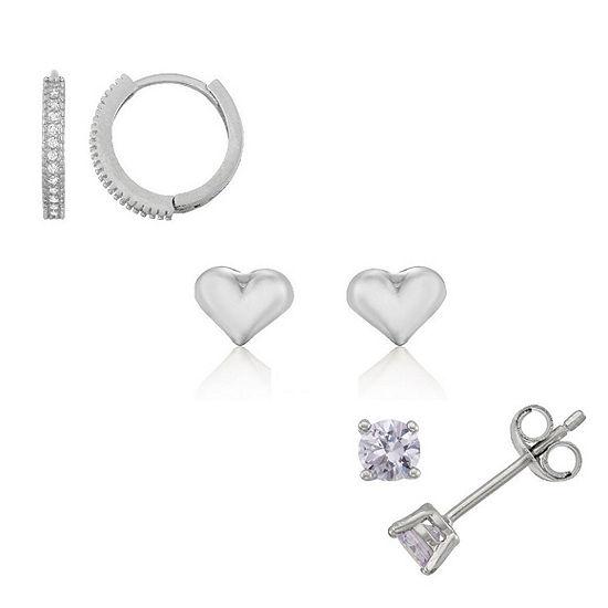 White Cubic Zirconia Sterling Silver 5mm Heart Stud Earrings