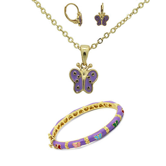 10K Gold Over Brass Butterfly 3-pc. Jewelry Set