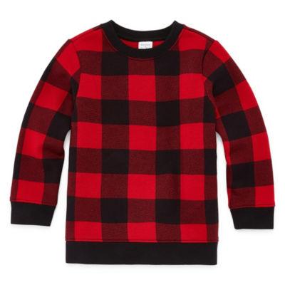 Peyton & Parker Long Sleeve Checked Sweatshirt-Toddler Boys
