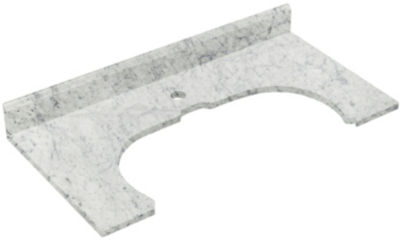 33-in. W 16.5-in. D Marble Top In Bianca Carara Color For Deck Mount Faucet