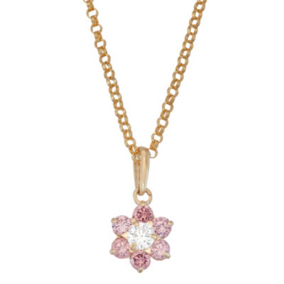 Girls Pink Cubic Zirconia 10K Gold Flower Pendant Necklace