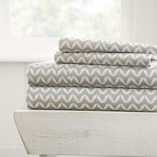 Casual Comfort Premium Ultra Soft Puffed Chevron Pattern 4 Piece Bed Sheet Set