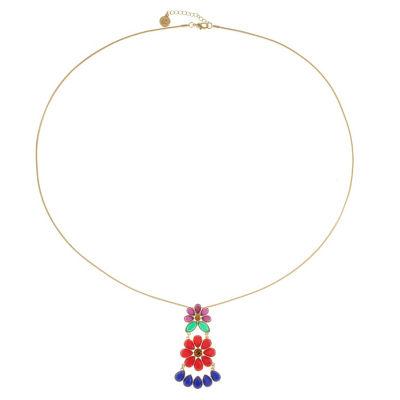 Liz Claiborne Womens Multi Color Flower Pendant Necklace