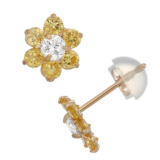 Yellow Cubic Zirconia 10K Gold 7.5mm Flower Stud Earrings